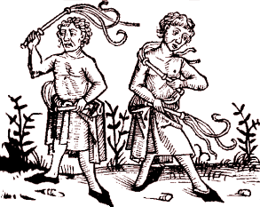 15th century woodcutting of flagellants scourging themselves